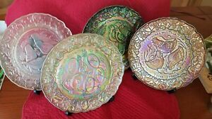 Imperial Carnival Glass 12 Days Of Christmas Plates #2,3,4,5 Lot of 4 Different