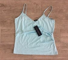 LADIES FRENCH WRAP OVER STYLE DRESSY STRAPPY TOP LIGHT BLUE SIZE M = 10-12