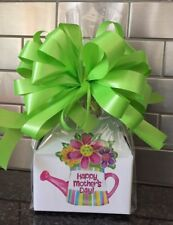 Mother's Day Candy Gift Box-Basket Wrapped With Neon Green Bow & Card