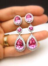 Women Chic Silver Plated Pink Sapphire Dangle Drop Hook Earrings Wedding Jewelry