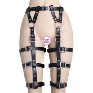 UK  Leather Body Harness Waist Belt Leg Garter Punk Gothic Suspender Chain Strap