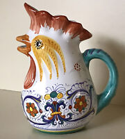 "Cottura   Cama Deruta Pottery ~ Hand Painted 7 1/2"" Rooster Pitcher ~ Italy"