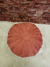 Sky Pleated Decorative Pillow, 16 INCHES  Round INGRID CORAL RED