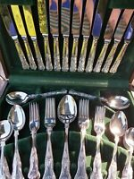KINGS PATTERN Sheffield England Silver Plate Cutlery Set 50 Pce Cased