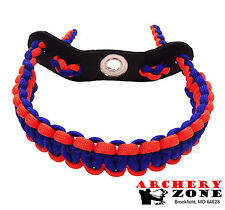 Neon Orange & Blue paracord wrist sling w/ Leather Archery Free Shipping