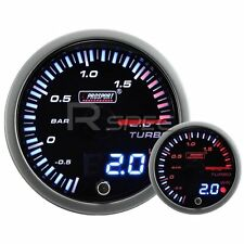 JDM 60mm Smoked Style 2 Bar Boost Dual Stepper Motor Gauge with warning