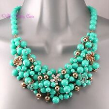 Big Mint Turquoise Gold Chic Bubble Bead Cluster Bib Collar Statement Necklace