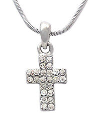 Christian Catholic  Small Clear Cross Pendant Necklace Girl Jewelry n2068c