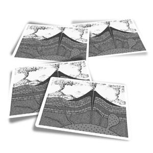 4x Rectangle Stickers - BW - Volcano Diagram Geology  #35561