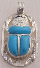 Scarab.925 Silver Pendant inlaid withTurquoise (Medium) (Hallmarked)