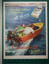 Vintage 1937 ad Chesterfield Cigarettes Full Page Color Speed Boat Man Cave Art.