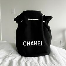 NEW!!! Chanel Black Logo Drawstring Canvas Backpack Large Beach Bag VIP Gift