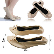 Beige Size 39 Roll Fold Up Pumps Flats After Party Shoes Pocket With Free Bags