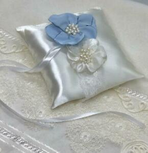 wedding white pillow for rings decorated lhandmade blue and white flowers