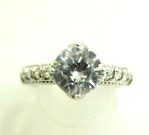 Ladies  Ring with 2ct Solitaire Cubic Zirconia Sterling Silver size 6.5