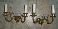coppia eleganti antiche appliques bronzo dorato 2 lux x ingresso sala studio ecc