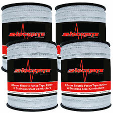 4 x 200m x 20mm Electric Fence Fencing Poly Tape 6 SS Conductors Pony Horse