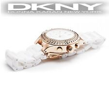DKNY WOMEN'S CERAMIC ROSE GOLD CRISTALS COLLECTION WATCH NY2225