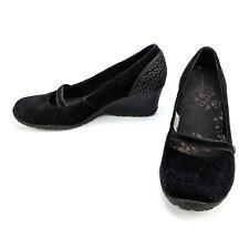 Merrell Petunia Print Wedge Black Suede Leather Mary Jane Vibram J46222 Size 8