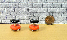 TWO MECHANICS SHOP SWIVEL CHAIRS ON WHEELS  MINIATURE  ACCESSORIES 1/24 G SCALE