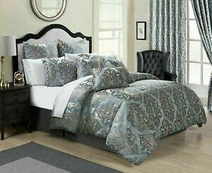 Jacquard Quilted Bedspread Throw 3 Piece Bedding Set Double King Bed Size