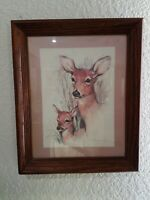 "Paul Whitney Hunter  - ""Deer & Fawn"" - Vintage Framed Print - 16 1/4"" X 13 1/2"""