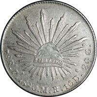 1890 MEXICO 8 REALES SILVER - Pi MR  KM# 377.12 - Cleaned  (041021107)