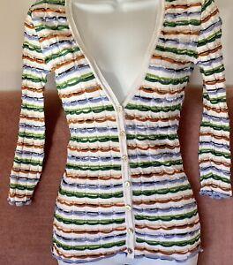 NR Authentic Designer M Missoni Cardigan Sweater Top White Patterned Sz 4 US