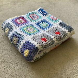 Crochet blanket granny squares white vintage style large square multi coloured