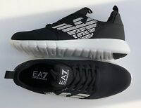 EMPORIO ARMANI EA7 Black Trainers Sneakers Runners Logo Design Size UK 7 BNIB