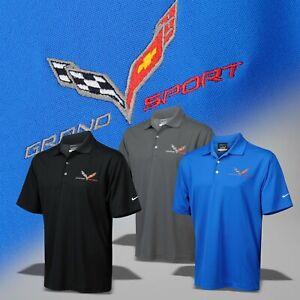 2017-2019 Corvette C7 Men's Nike Dri-Fit Polo Shirt with Grand Sport Logo 637052