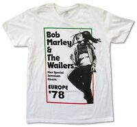 Bob Marley Europe 1978 White T Shirt New Official Merch Adult Tour