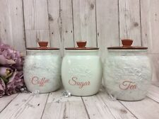 Kilner Jars X3  Tea Coffee & Sugar Canisters Set in White Grey Black Copper