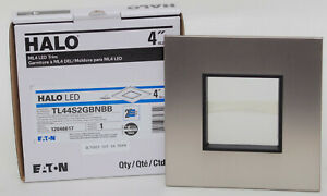 """HALO ML4 LED Trim 2"""" Square Lens Pinhole Brushed Nickel Flange, Black Lens Frame"""