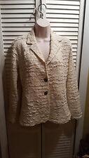CHICO'S Jacket Blazer Ivory Cotton Size 1 Women's