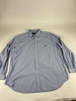 Polo Ralph Lauren Sz 3XLT Blue/White L/S 100% Cotton Button Shirt