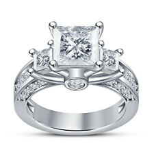 Engagement Ring 2.50 Ctw Princess Cut Diamond Prong Setting With White Gold Over