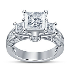 2.50 Ctw Princess Cut Diamond Prong White Gold Over Engagement Ring