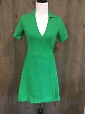 Womens Designer Diane Von Furstenberg Wrap Dress. Size S. Green. Pleated. Collar