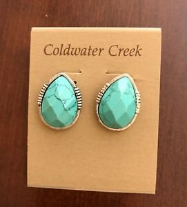 Coldwater Creek Santorini Button Earrings, Faux Turquoise, New