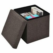 Foldable Storage Box Stool Home Square Ottoman Toys Sundries Organizer Container