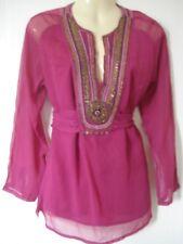 Women's Willow Blossom rouge perles embelli Boho Caftan Chemisier Top 10UK