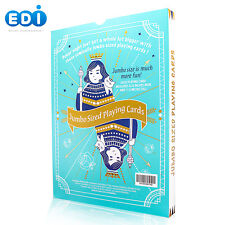 """Edi Super Jumbo Playing Cards with Large Numbers Size 11.5"""" x 8.25"""" Light Blue"""