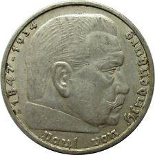 Drittes Reich 5 Reichsmark 1938 A, Hindenburg, mit HK, Silber