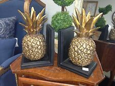 GOLD PINEAPPLE BOOK ENDS  figurine wedding gift book case office desk study