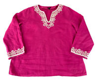 Talbots Tunic Top Women's Size Large Pink Embellished Linen Long Sleeve
