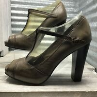 Simply Vera Wang Women's Mary Jane T-Strap Peep Toe Brown Leather Comfort Size 8