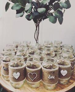 10 X Hessian Boho Rustic Style Medium Size Jars  Wedding