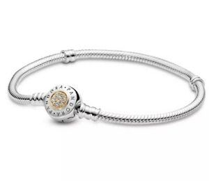 "Pandora Moments Logo Charm Bracelet 590741CZ 19cm 7.5"" 925 ALE 14k Gold $100"