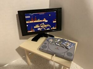 DOLLHOUSE MINI SONY PLAYSTATION WITH VIDEO MONITOR & 5 GAMES WOW LOOK BLUE